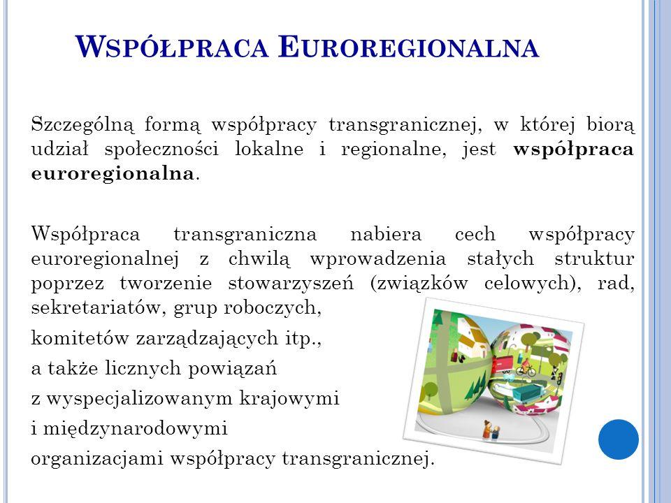 W SPÓŁPRACA E UROREGIONALNA Szczególną formą współpracy transgranicznej, w której biorą udział społeczności lokalne i regionalne, jest współpraca euroregionalna.