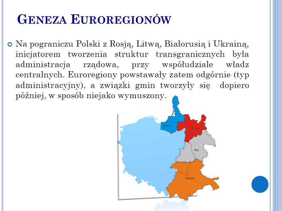 G ENEZA E UROREGIONÓW Na pograniczu Polski z Rosją, Litwą, Białorusią i Ukrainą, inicjatorem tworzenia struktur transgranicznych była administracja rządowa, przy współudziale władz centralnych.