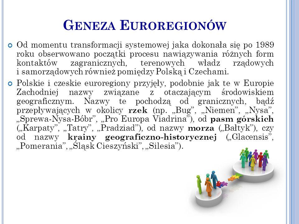 G ENEZA E UROREGIONÓW Od momentu transformacji systemowej jaka dokonała się po 1989 roku obserwowano początki procesu nawiązywania różnych form kontaktów zagranicznych, terenowych władz rządowych i samorządowych również pomiędzy Polską i Czechami.