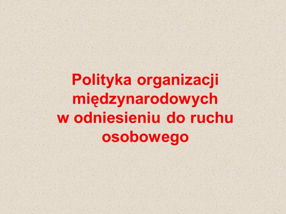 Polityka organizacji międzynarodowych w odniesieniu do ruchu osobowego