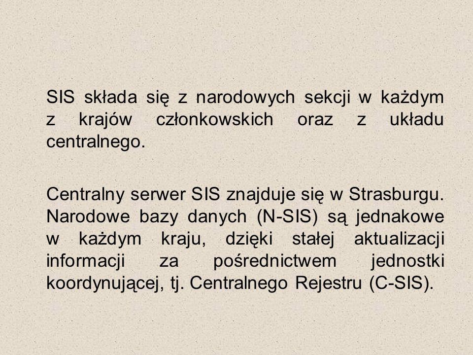 SIS składa się z narodowych sekcji w każdym z krajów członkowskich oraz z układu centralnego.