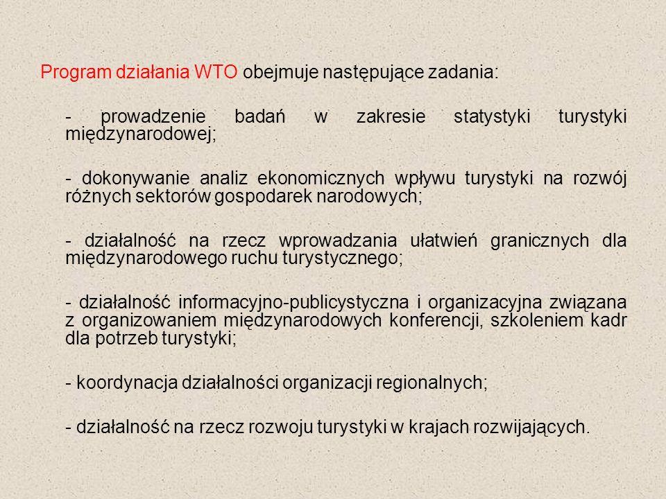 Program działania WTO obejmuje następujące zadania: - prowadzenie badań w zakresie statystyki turystyki międzynarodowej; - dokonywanie analiz ekonomicznych wpływu turystyki na rozwój różnych sektorów gospodarek narodowych; - działalność na rzecz wprowadzania ułatwień granicznych dla międzynarodowego ruchu turystycznego; - działalność informacyjno-publicystyczna i organizacyjna związana z organizowaniem międzynarodowych konferencji, szkoleniem kadr dla potrzeb turystyki; - koordynacja działalności organizacji regionalnych; - działalność na rzecz rozwoju turystyki w krajach rozwijających.