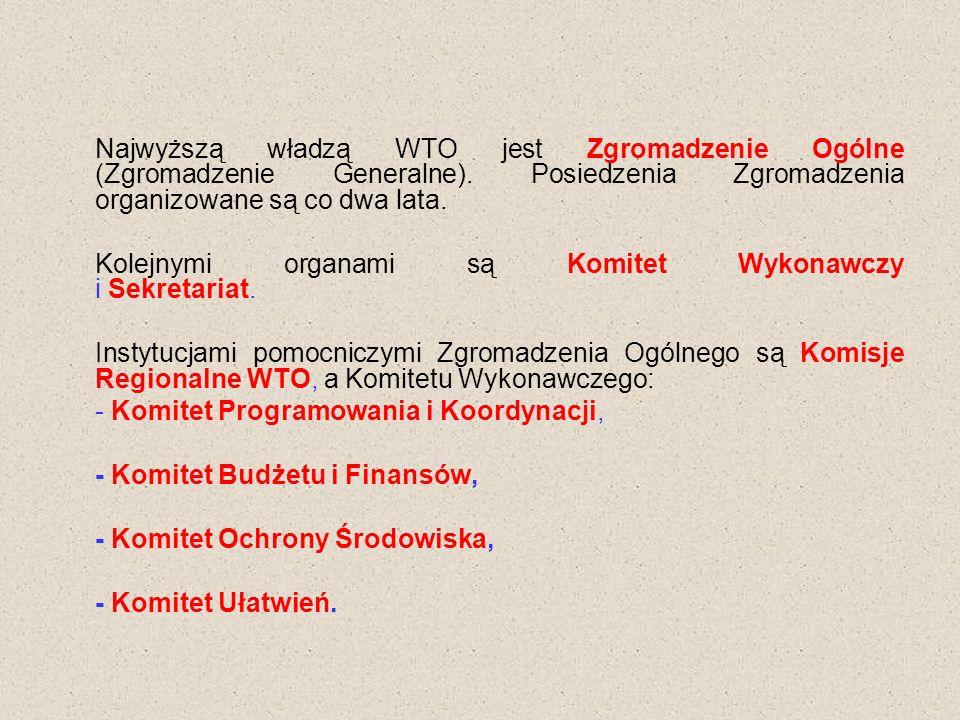 Najwyższą władzą WTO jest Zgromadzenie Ogólne (Zgromadzenie Generalne).