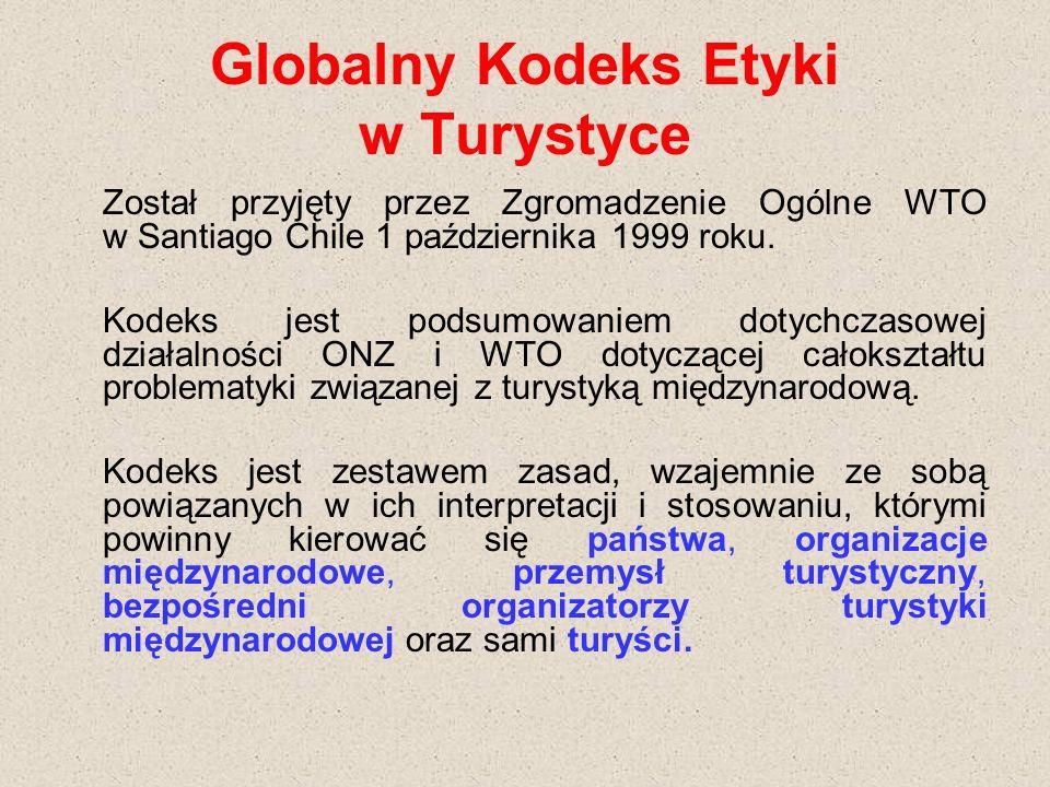 Globalny Kodeks Etyki w Turystyce Został przyjęty przez Zgromadzenie Ogólne WTO w Santiago Chile 1 października 1999 roku.