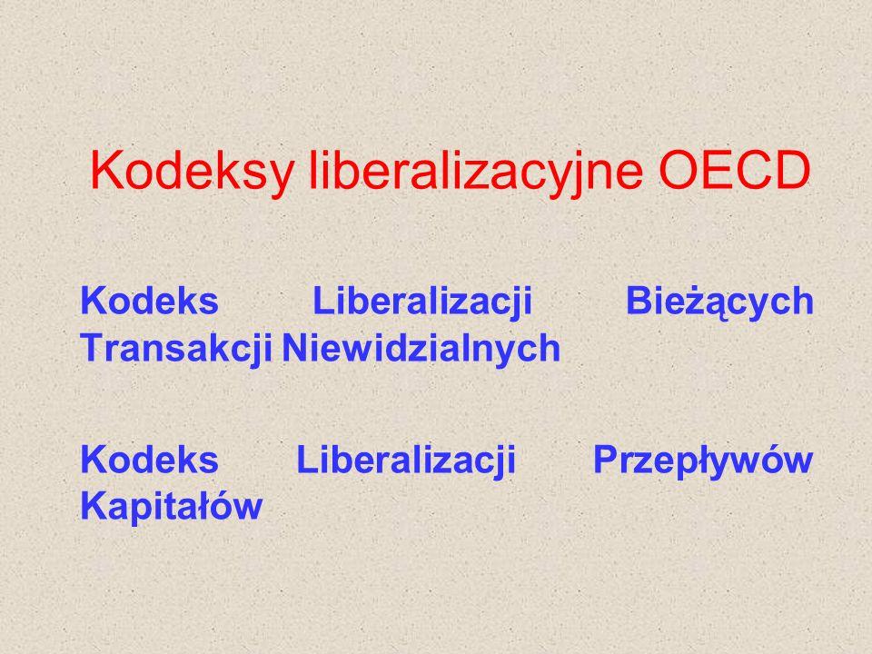Kodeksy liberalizacyjne OECD Kodeks Liberalizacji Bieżących Transakcji Niewidzialnych Kodeks Liberalizacji Przepływów Kapitałów
