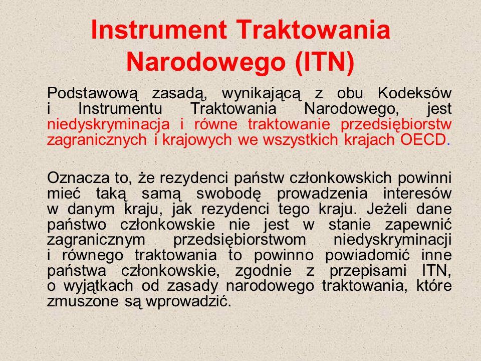 Instrument Traktowania Narodowego (ITN) Podstawową zasadą, wynikającą z obu Kodeksów i Instrumentu Traktowania Narodowego, jest niedyskryminacja i równe traktowanie przedsiębiorstw zagranicznych i krajowych we wszystkich krajach OECD.