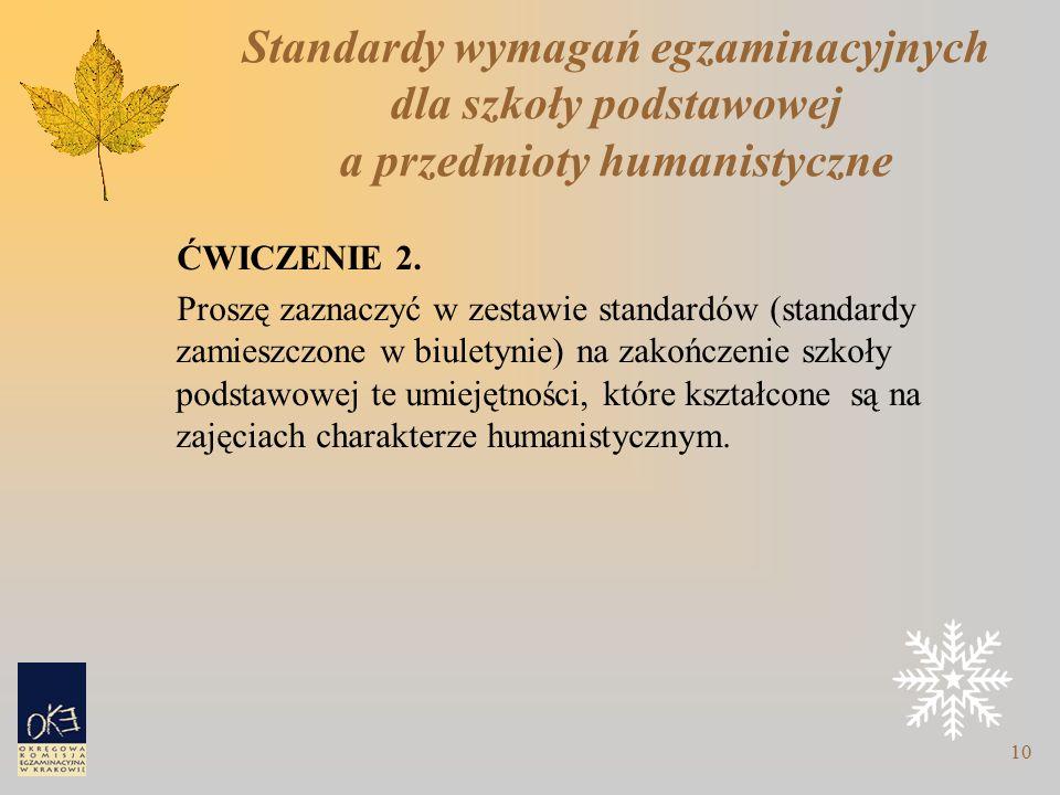 10 Standardy wymagań egzaminacyjnych dla szkoły podstawowej a przedmioty humanistyczne ĆWICZENIE 2.