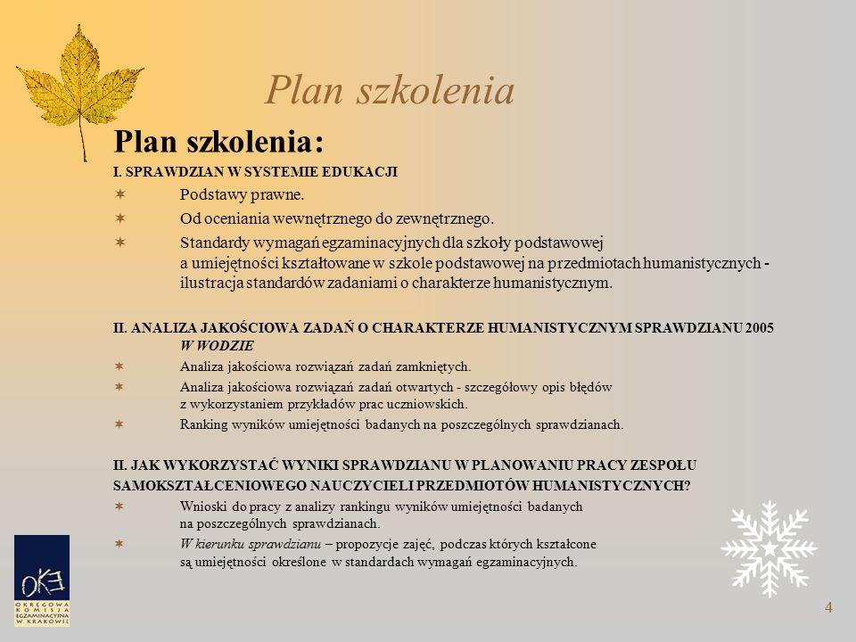 4 Plan szkolenia Plan szkolenia: I. SPRAWDZIAN W SYSTEMIE EDUKACJI  Podstawy prawne.