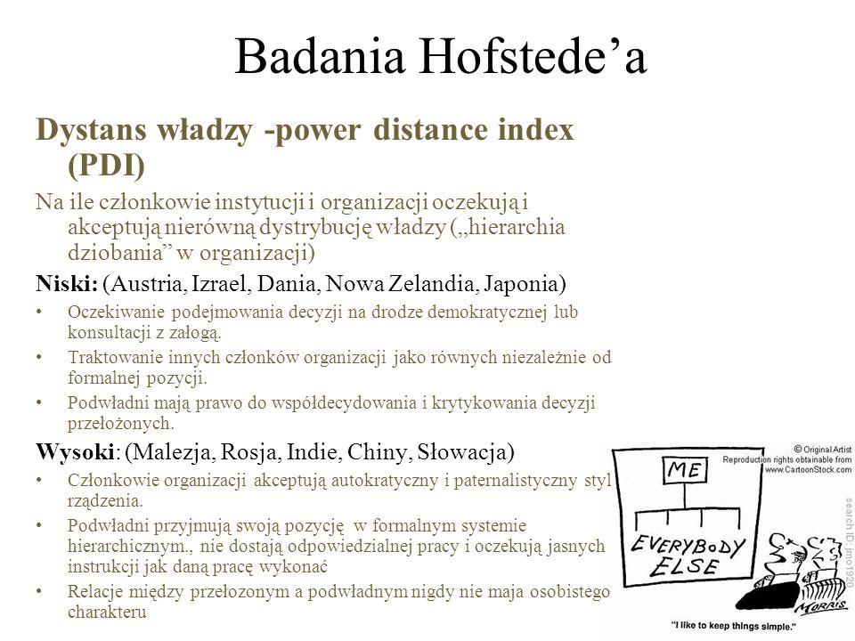 """Badania Hofstede'a Dystans władzy -power distance index (PDI) Na ile członkowie instytucji i organizacji oczekują i akceptują nierówną dystrybucję władzy (""""hierarchia dziobania w organizacji) Niski: (Austria, Izrael, Dania, Nowa Zelandia, Japonia) Oczekiwanie podejmowania decyzji na drodze demokratycznej lub konsultacji z załogą."""