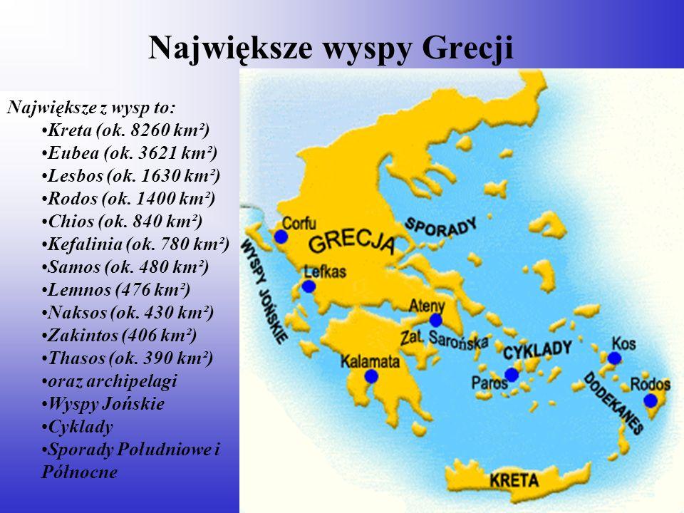 Największe wyspy Grecji Największe z wysp to: Kreta (ok. 8260 km²) Eubea (ok. 3621 km²) Lesbos (ok. 1630 km²) Rodos (ok. 1400 km²) Chios (ok. 840 km²)