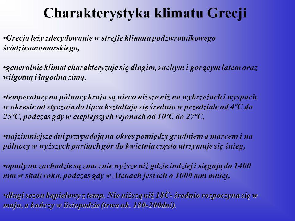 Charakterystyka klimatu Grecji Grecja leży zdecydowanie w strefie klimatu podzwrotnikowego śródziemnomorskiego, generalnie klimat charakteryzuje się d