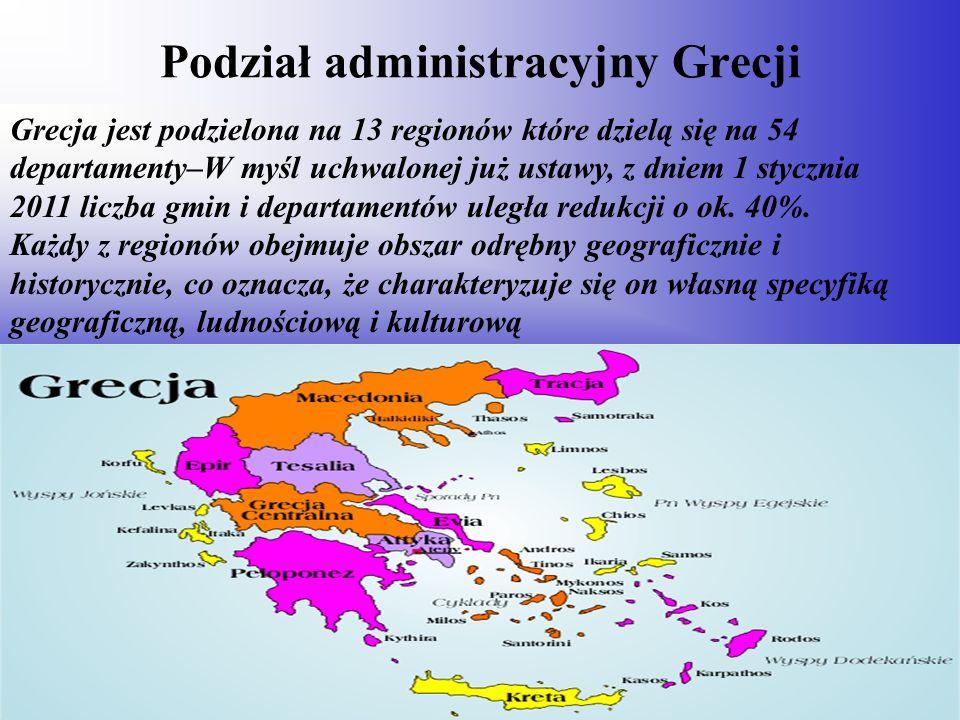 Podział administracyjny Grecji Grecja jest podzielona na 13 regionów które dzielą się na 54 departamenty–W myśl uchwalonej już ustawy, z dniem 1 stycz