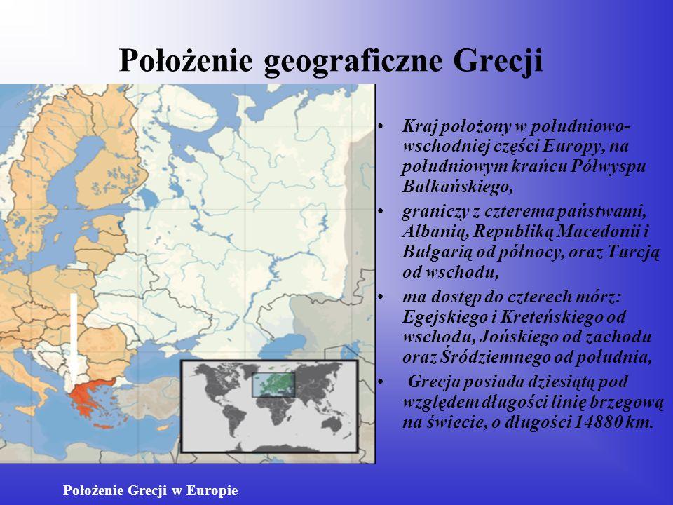 Położenie geograficzne Grecji Kraj położony w południowo- wschodniej części Europy, na południowym krańcu Półwyspu Bałkańskiego, graniczy z czterema p