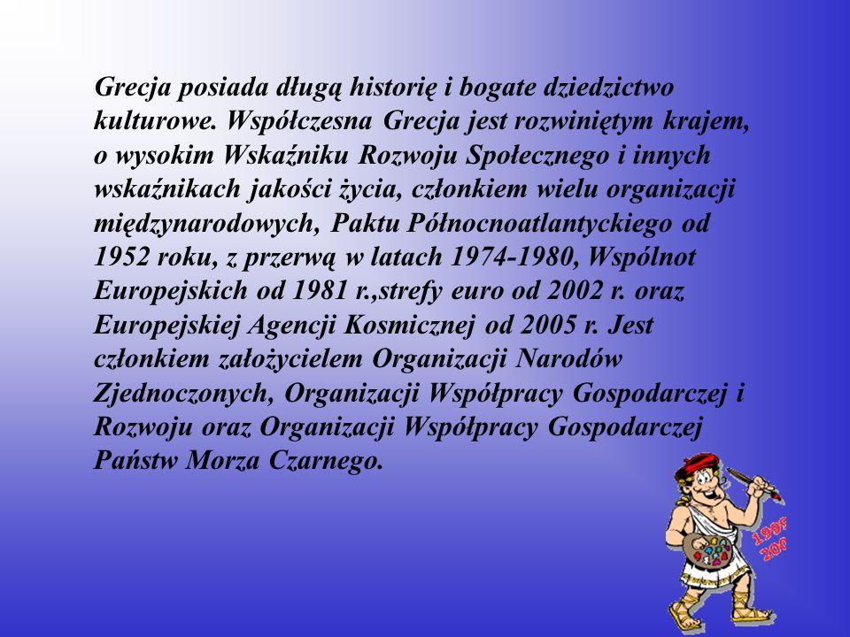 Grecja posiada długą historię i bogate dziedzictwo kulturowe. Współczesna Grecja jest rozwiniętym krajem, o wysokim Wskaźniku Rozwoju Społecznego i in