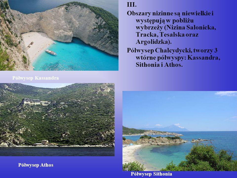 III. Obszary nizinne są niewielkie i występują w pobliżu wybrzeży (Nizina Salonicka, Tracka, Tesalska oraz Argolidzka). Półwysep Chalcydycki, tworzy 3