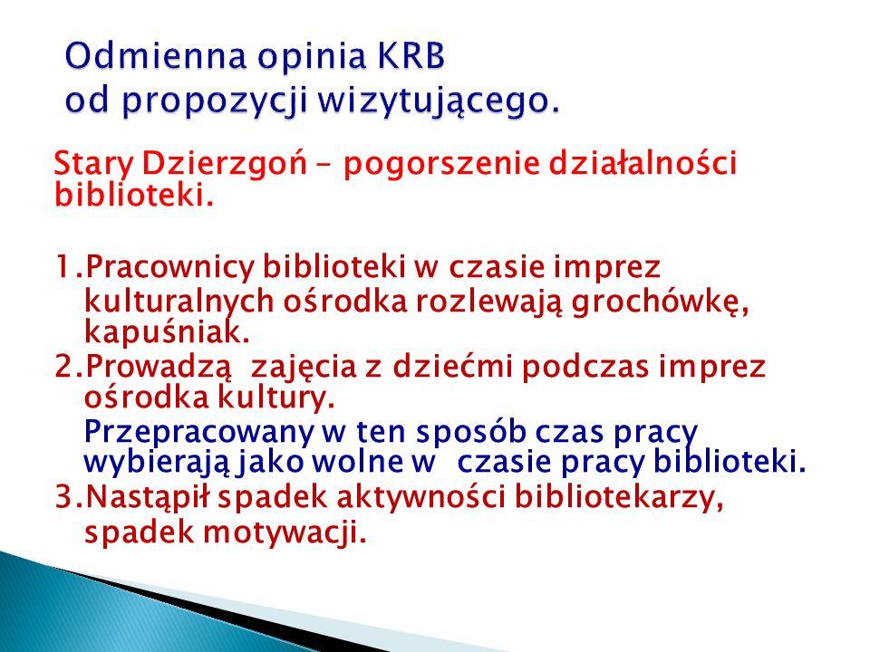 Stary Dzierzgoń – pogorszenie działalności biblioteki. 1.Pracownicy biblioteki w czasie imprez kulturalnych ośrodka rozlewają grochówkę, kapuśniak. 2.