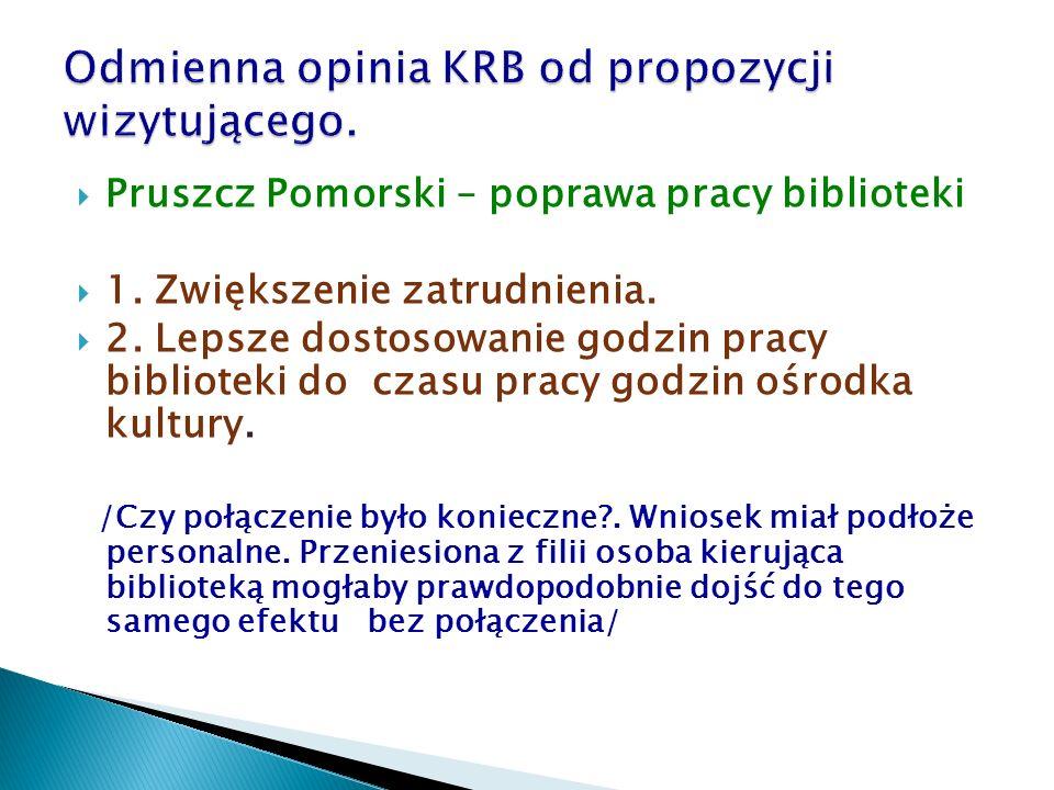  Pruszcz Pomorski – poprawa pracy biblioteki  1. Zwiększenie zatrudnienia.  2. Lepsze dostosowanie godzin pracy biblioteki do czasu pracy godzin oś
