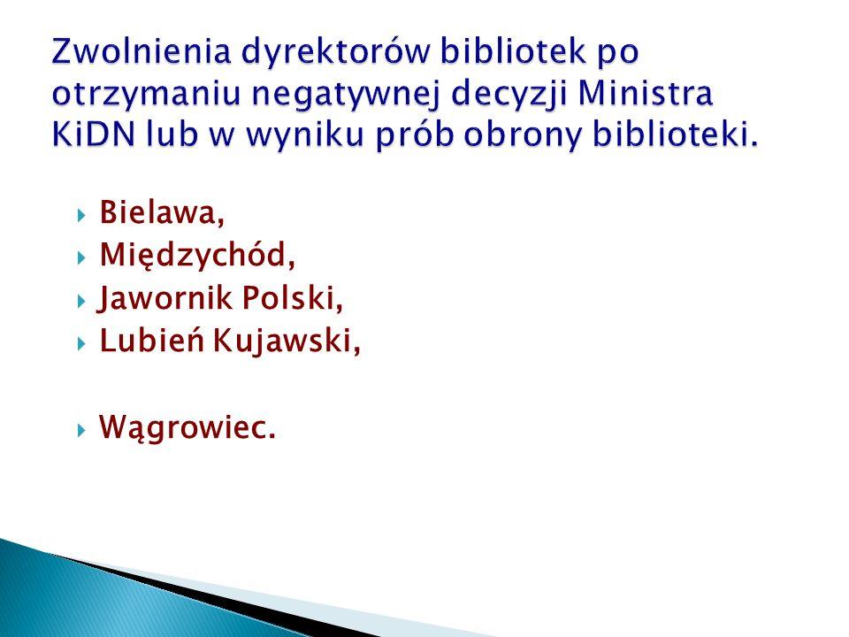  Bielawa,  Międzychód,  Jawornik Polski,  Lubień Kujawski,  Wągrowiec.