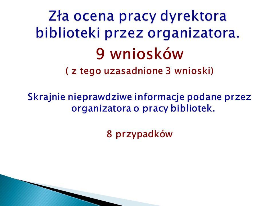 9 wniosków ( z tego uzasadnione 3 wnioski) Skrajnie nieprawdziwe informacje podane przez organizatora o pracy bibliotek. 8 przypadków