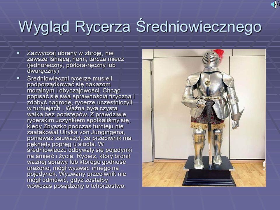 Wygląd Rycerza Średniowiecznego  Zazwyczaj ubrany w zbroję, nie zawsze lśniącą, hełm, tarcza miecz (jednoręczny, półtora-ręczny lub dwuręczny)  Średniowieczni rycerze musieli podporządkować się nakazom moralnym i obyczajowości.