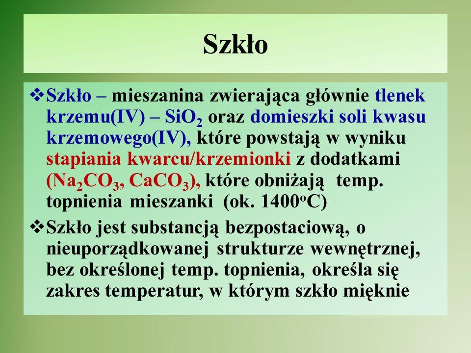 Struktura szkła Struktura kwarcu/krzemionkiStruktura szkła