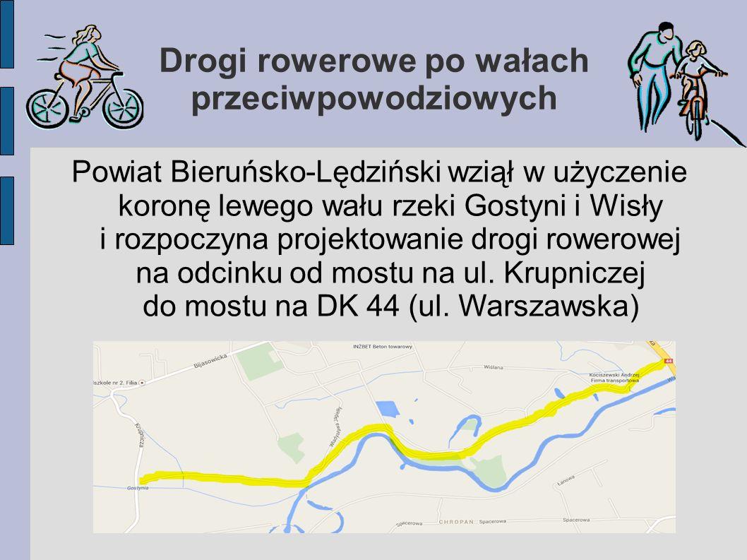 Drogi rowerowe po wałach przeciwpowodziowych Powiat Bieruńsko-Lędziński wziął w użyczenie koronę lewego wału rzeki Gostyni i Wisły i rozpoczyna projektowanie drogi rowerowej na odcinku od mostu na ul.