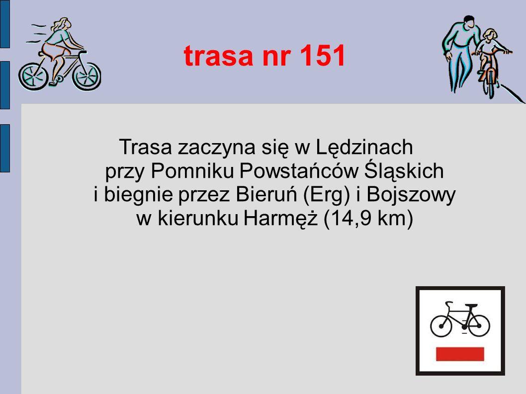 trasa nr 151 Trasa zaczyna się w Lędzinach przy Pomniku Powstańców Śląskich i biegnie przez Bieruń (Erg) i Bojszowy w kierunku Harmęż (14,9 km)