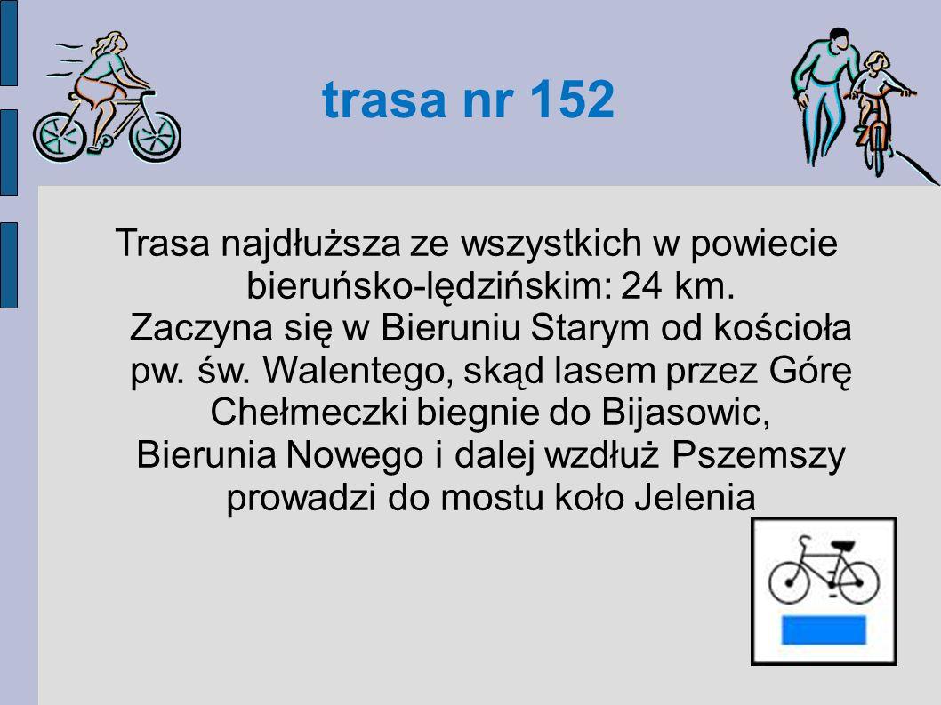 trasa nr 153 Trasa (10,6 km) w całości prowadzi przez Lędziny, niemal wyłącznie terenami rekreacyjnymi: Zamoście – Lędziny (centrum) - Górki