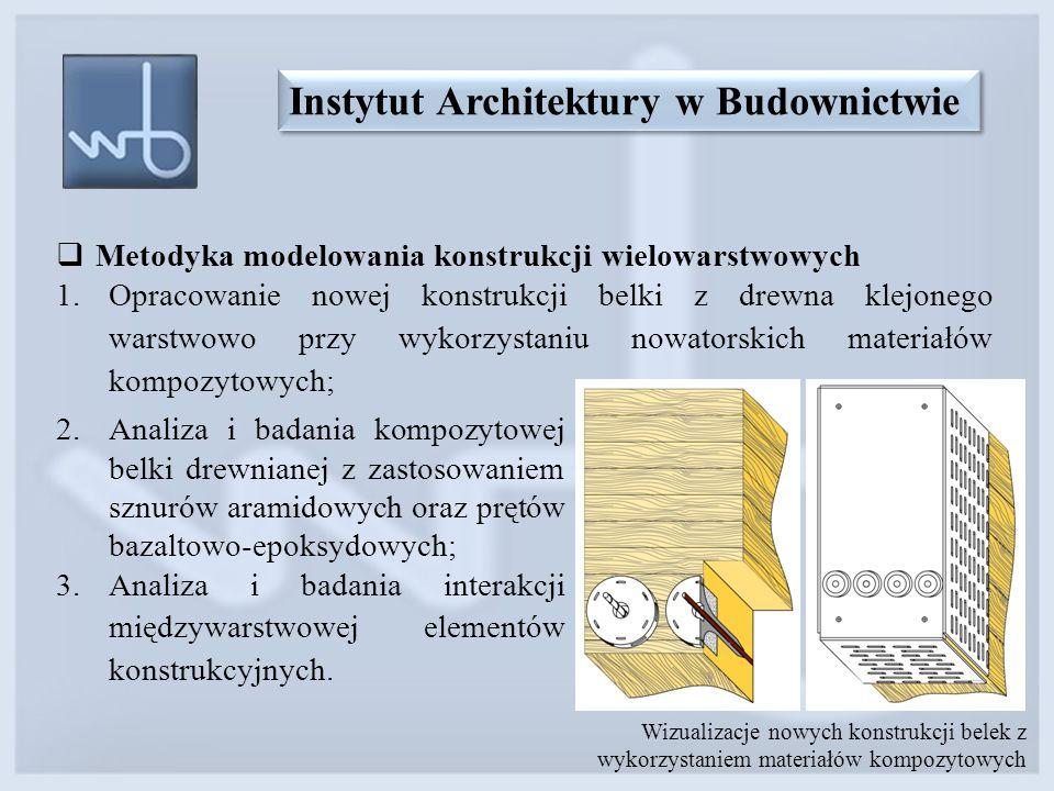  Metodyka modelowania konstrukcji wielowarstwowych 1.Opracowanie nowej konstrukcji belki z drewna klejonego warstwowo przy wykorzystaniu nowatorskich