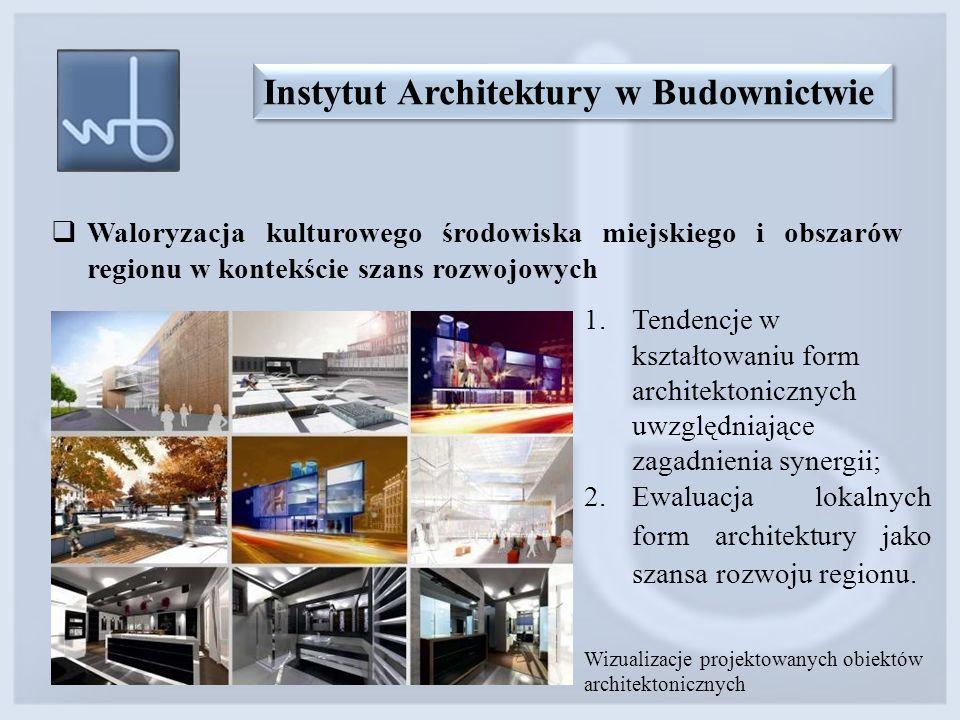  Waloryzacja kulturowego środowiska miejskiego i obszarów regionu w kontekście szans rozwojowych Instytut Architektury w Budownictwie Wizualizacje pr