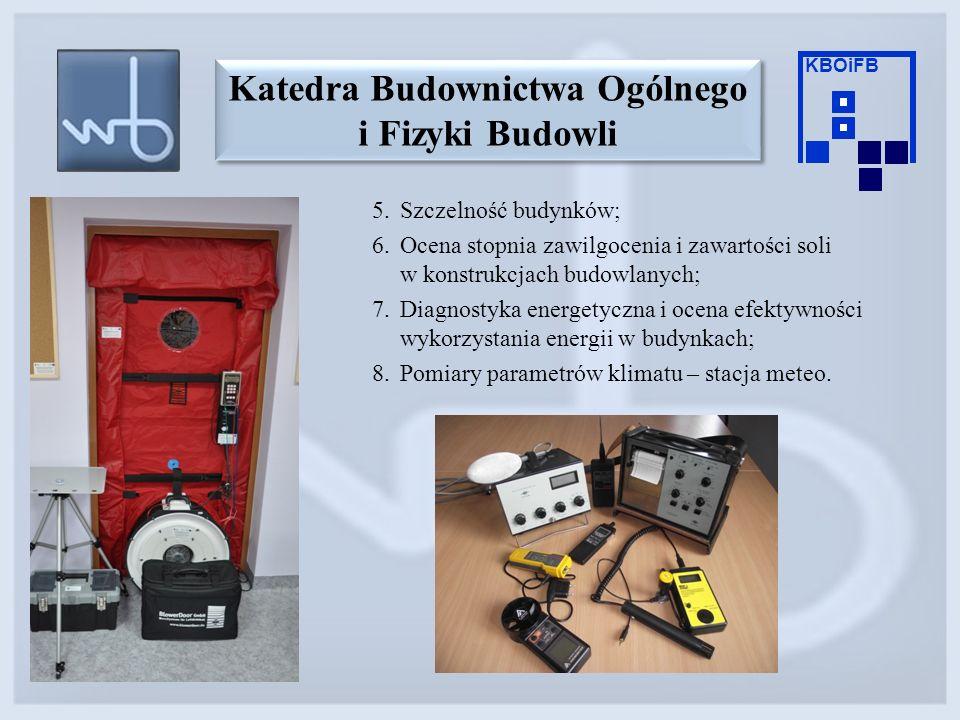 5.Szczelność budynków; 6.Ocena stopnia zawilgocenia i zawartości soli w konstrukcjach budowlanych; 7.Diagnostyka energetyczna i ocena efektywności wyk