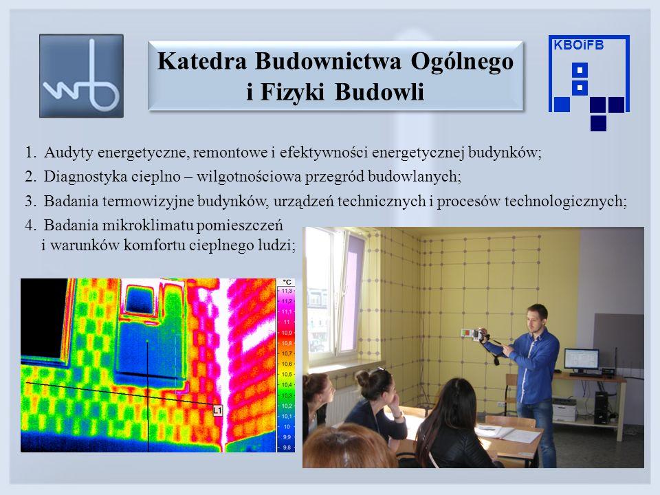 1.Audyty energetyczne, remontowe i efektywności energetycznej budynków; 2.Diagnostyka cieplno – wilgotnościowa przegród budowlanych; 3.Badania termowi