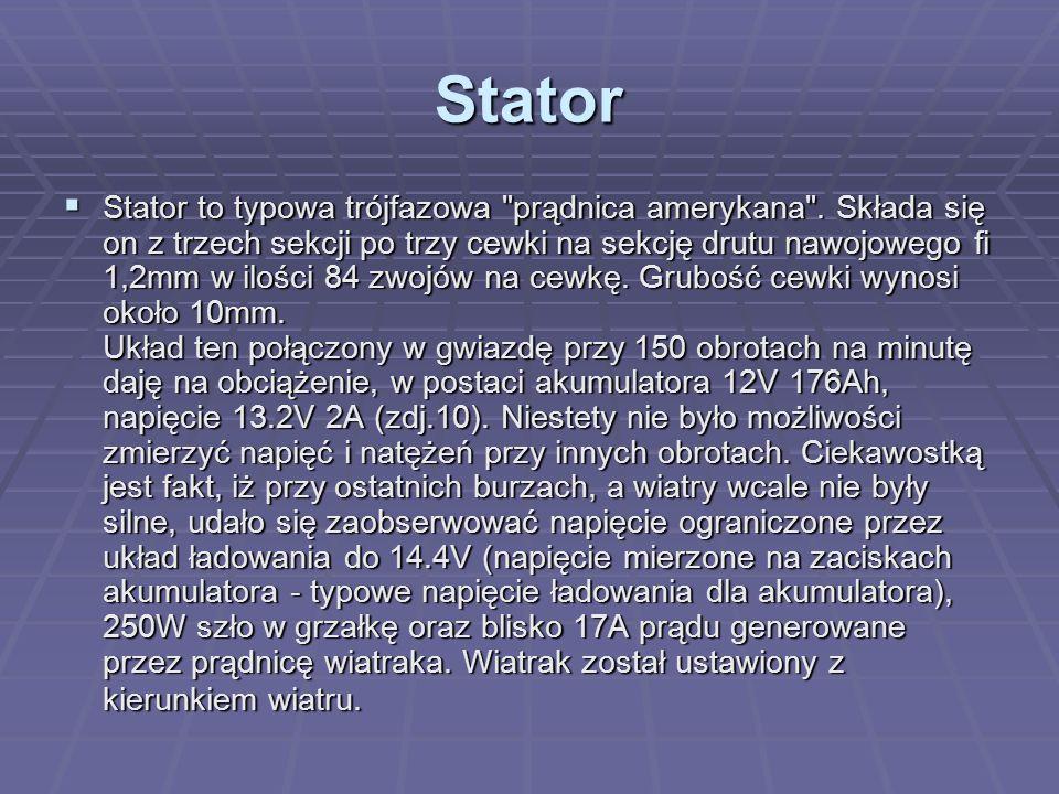 Stator  Stator to typowa trójfazowa prądnica amerykana .