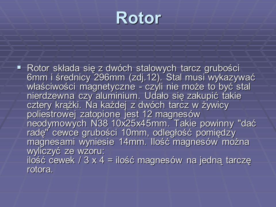 Rotor  Rotor składa się z dwóch stalowych tarcz grubości 6mm i średnicy 296mm (zdj.12). Stal musi wykazywać właściwości magnetyczne - czyli nie może