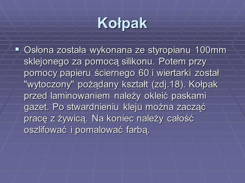 Kołpak  Osłona została wykonana ze styropianu 100mm sklejonego za pomocą silikonu.