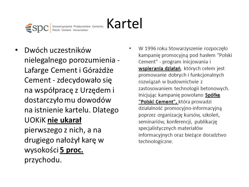 Kartel Dwóch uczestników nielegalnego porozumienia - Lafarge Cement i Górażdże Cement - zdecydowało się na współpracę z Urzędem i dostarczyło mu dowodów na istnienie kartelu.