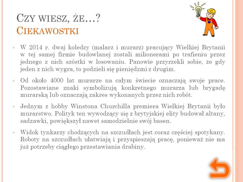 C ZY WIESZ, ŻE …. C IEKAWOSTKI W 2014 r.