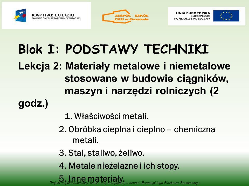 Blok I: PODSTAWY TECHNIKI Lekcja 2: Materiały metalowe i niemetalowe stosowane w budowie ciągników, maszyn i narzędzi rolniczych (2 godz.) 1.