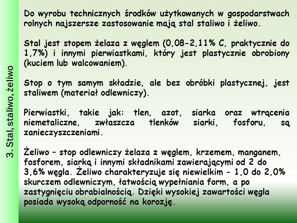 3. Stal, staliwo, żeliwo Do wyrobu technicznych środków użytkowanych w gospodarstwach rolnych najszersze zastosowanie mają stal staliwo i żeliwo. Stal