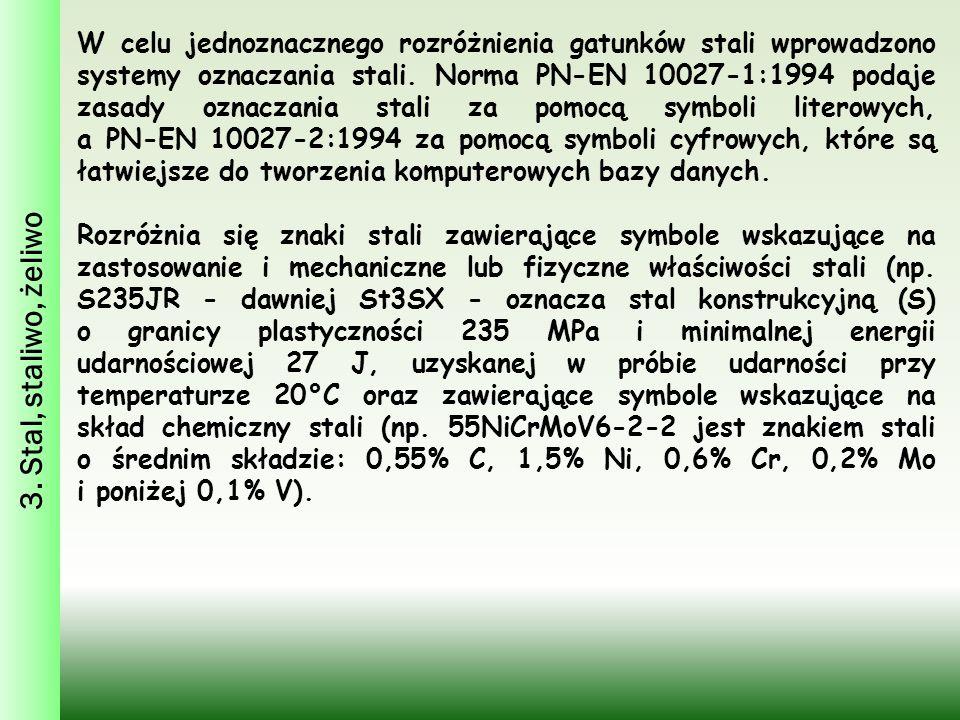 3. Stal, staliwo, żeliwo W celu jednoznacznego rozróżnienia gatunków stali wprowadzono systemy oznaczania stali. Norma PN-EN 10027-1:1994 podaje zasad