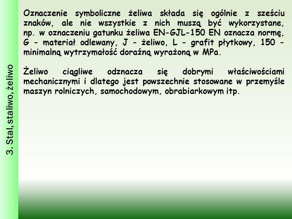 3. Stal, staliwo, żeliwo Oznaczenie symboliczne żeliwa składa się ogólnie z sześciu znaków, ale nie wszystkie z nich muszą być wykorzystane, np. w ozn