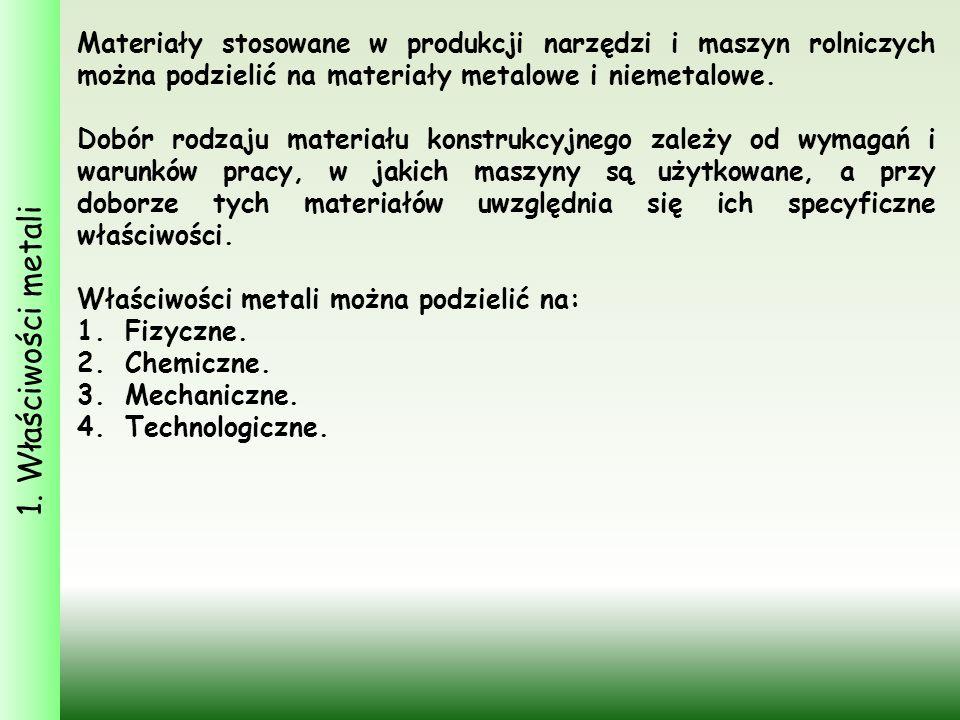 1. Właściwości metali Materiały stosowane w produkcji narzędzi i maszyn rolniczych można podzielić na materiały metalowe i niemetalowe. Dobór rodzaju