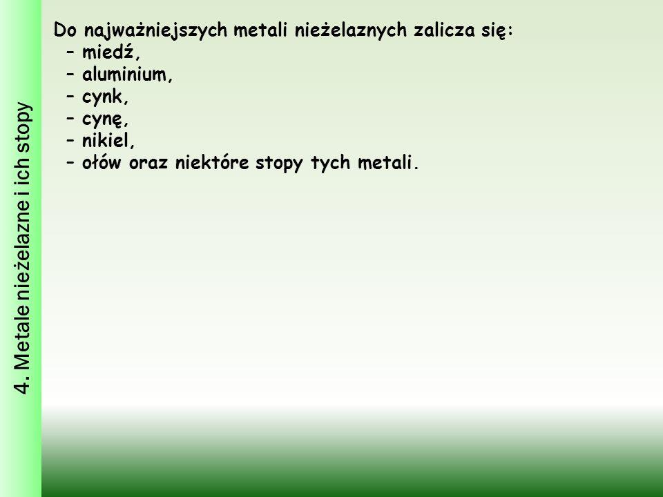4. Metale nieżelazne i ich stopy Do najważniejszych metali nieżelaznych zalicza się: – miedź, – aluminium, – cynk, – cynę, – nikiel, – ołów oraz niekt
