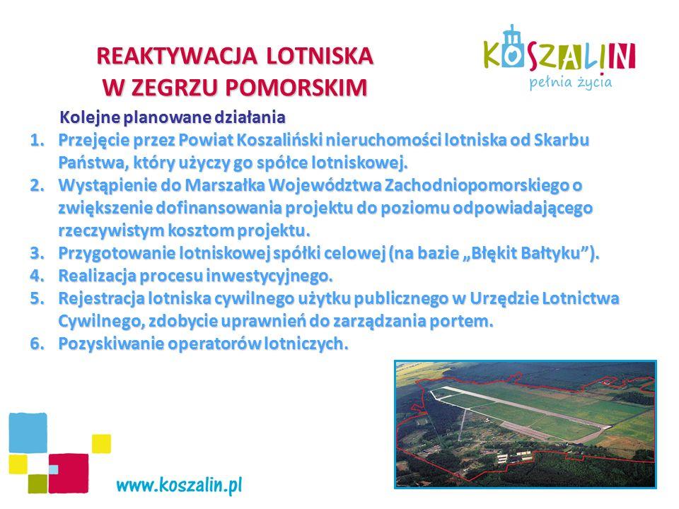 Kolejne planowane działania Kolejne planowane działania 1.Przejęcie przez Powiat Koszaliński nieruchomości lotniska od Skarbu Państwa, który użyczy go spółce lotniskowej.