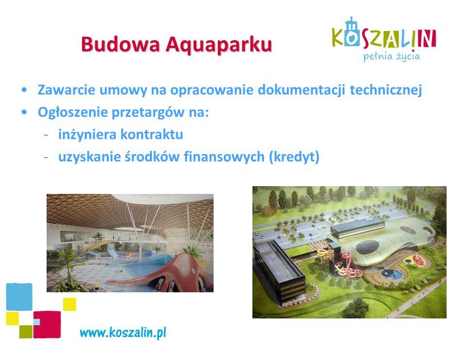 Budowa Aquaparku Zawarcie umowy na opracowanie dokumentacji technicznej Ogłoszenie przetargów na: -inżyniera kontraktu -uzyskanie środków finansowych (kredyt)