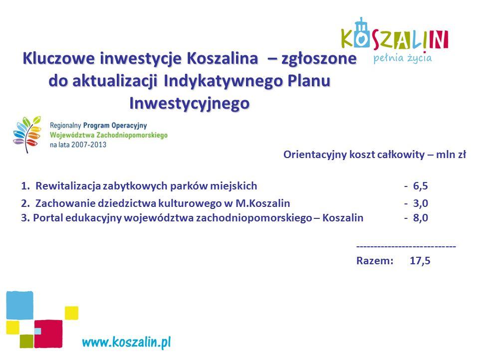 Kluczowe inwestycje Koszalina – zgłoszone do aktualizacji Indykatywnego Planu Inwestycyjnego Orientacyjny koszt całkowity – mln zł 1. Rewitalizacja za