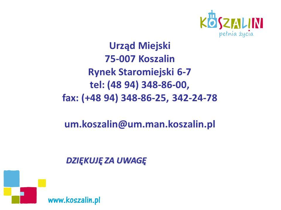 Urząd Miejski 75-007 Koszalin Rynek Staromiejski 6-7 tel: (48 94) 348-86-00, fax: (+48 94) 348-86-25, 342-24-78 um.koszalin@um.man.koszalin.pl DZIĘKUJ
