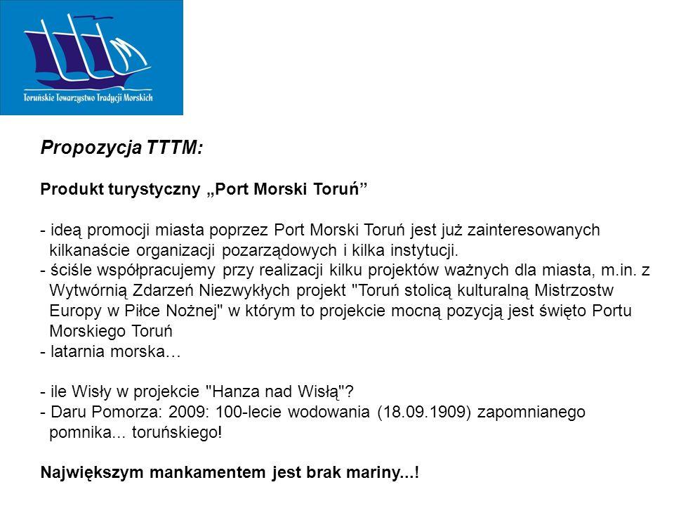 """Propozycja TTTM: Produkt turystyczny """"Port Morski Toruń - ideą promocji miasta poprzez Port Morski Toruń jest już zainteresowanych kilkanaście organizacji pozarządowych i kilka instytucji."""
