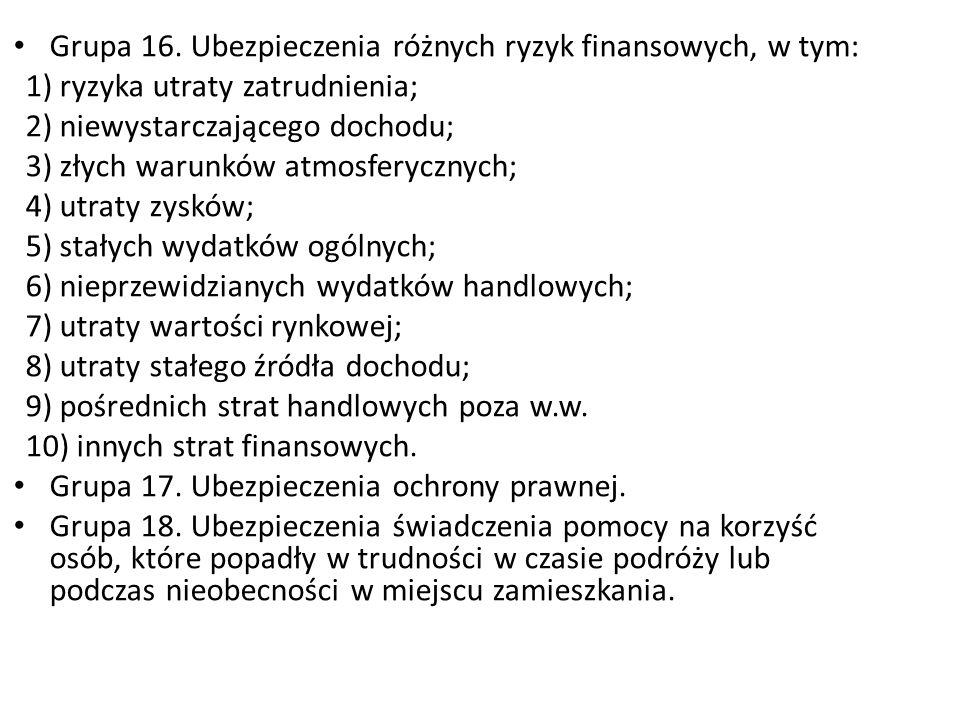 Grupa 16. Ubezpieczenia różnych ryzyk finansowych, w tym: 1) ryzyka utraty zatrudnienia; 2) niewystarczającego dochodu; 3) złych warunków atmosferyczn