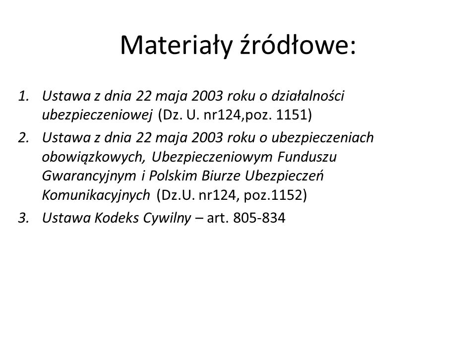 Materiały źródłowe: 1.Ustawa z dnia 22 maja 2003 roku o działalności ubezpieczeniowej (Dz. U. nr124,poz. 1151) 2.Ustawa z dnia 22 maja 2003 roku o ube